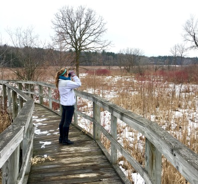 Olivia birding at the UW–Madison Arboretum