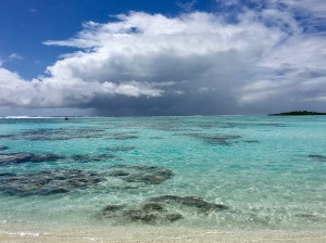View across Tetiaroa, a remote atoll in the South Pacific
